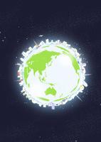 宇宙に浮かぶ地球に見立てた円の上に周りに並べた建物と緑