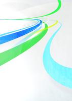 勢い良く奥に流れる緑と青のグラフィカルなライン