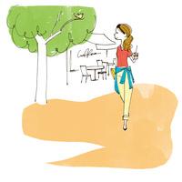 コーヒーを持って散歩をする女性