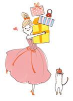 プレゼントをたくさん抱える女の子と猫