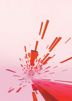 画面奥に向かう立体感のある赤色のバー(光)