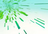 画面上部に向かって進む立体感のある緑色のバー(光)