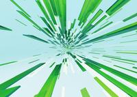 画面中央に向かって進む立体感のある白色と緑色のバー(光)