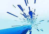 画面奥に流れる立体感のある青色のバー(光)