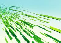 横から見た立体感のある流れる緑のバー(光)