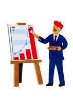 グラフを描くビジネスマン 10471000248| 写真素材・ストックフォト・画像・イラスト素材|アマナイメージズ