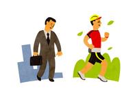 疲れているビジネスマンとマラソンする男性