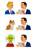 外国人、猫、宇宙人と話すビジネスマン