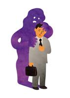 胸に手を当てるビジネスマンと紫色の病気のイメージ