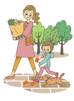 買い物帰りの親子 10471000261| 写真素材・ストックフォト・画像・イラスト素材|アマナイメージズ