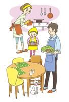 ご飯の準備をする家族