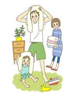 お風呂上がりのお父さんと子供