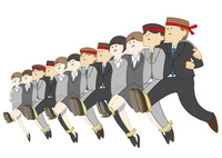 12人13脚をする会社員