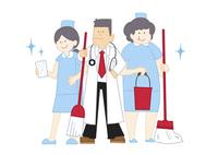 掃除をする病院の先生と看護師