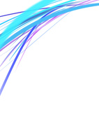 白背景の空間に浮かぶカラフルな青・紫のライン
