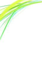 白背景の空間に浮かぶカラフルな緑系のライン