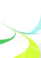 緑と青の流れるライン-白背景