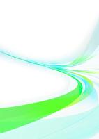 勢いのある青と緑色の光のライン- 背景白