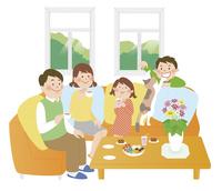 家族とリビング1 10471000334| 写真素材・ストックフォト・画像・イラスト素材|アマナイメージズ