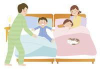 家族と寝室