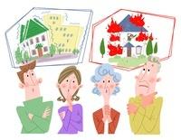 地震保険と火災保険と家族 10473000014| 写真素材・ストックフォト・画像・イラスト素材|アマナイメージズ