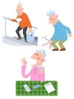 高齢者男性の関節痛・息切れ・服薬 10473000035| 写真素材・ストックフォト・画像・イラスト素材|アマナイメージズ