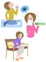 20〜30代女性の花粉症・うがい・生理痛 10473000038| 写真素材・ストックフォト・画像・イラスト素材|アマナイメージズ