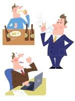 20〜30代男性の生活習慣病、喫煙・飲酒・寝不足 10473000042| 写真素材・ストックフォト・画像・イラスト素材|アマナイメージズ