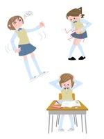 中高生女子の生理痛・めまい・うつ 10473000043| 写真素材・ストックフォト・画像・イラスト素材|アマナイメージズ