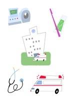 病院・救急車・血圧計・聴診器・歯ブラシ