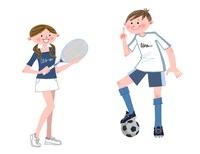 テニスとサッカーをする中高生