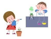 理科を学ぶ小学生