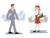 通勤するビジネスマンとビジネスウーマン