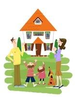 家族とマイホーム 10473000073| 写真素材・ストックフォト・画像・イラスト素材|アマナイメージズ