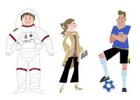 いろいろな職業 宇宙飛行士 モデル サッカー選手 10473000085| 写真素材・ストックフォト・画像・イラスト素材|アマナイメージズ