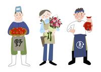 いろいろな職業 八百屋さん 花屋さん 魚屋さん 10473000086| 写真素材・ストックフォト・画像・イラスト素材|アマナイメージズ