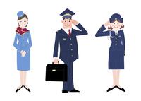 いろいろな職業 キャビンアテンダント パイロット 婦警 10473000087| 写真素材・ストックフォト・画像・イラスト素材|アマナイメージズ