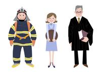 いろいろな職業 消防士 ウェイトレス 裁判官 10473000091| 写真素材・ストックフォト・画像・イラスト素材|アマナイメージズ