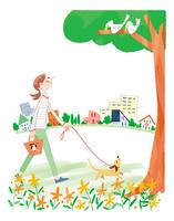 ワンコと散歩 小さな楽しみ  10473000142| 写真素材・ストックフォト・画像・イラスト素材|アマナイメージズ