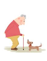 おじいさんと犬 心の友 10473000145| 写真素材・ストックフォト・画像・イラスト素材|アマナイメージズ