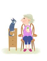 おばあさんと猫 心の友 10473000146| 写真素材・ストックフォト・画像・イラスト素材|アマナイメージズ