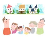 家族の住む町 10473000147| 写真素材・ストックフォト・画像・イラスト素材|アマナイメージズ