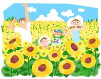夏休みの思い出 ひまわり畑 10473000149| 写真素材・ストックフォト・画像・イラスト素材|アマナイメージズ