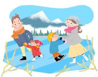 冬休みの思い出 スケート 10473000151| 写真素材・ストックフォト・画像・イラスト素材|アマナイメージズ