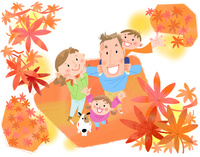 秋の思い出 みんなで紅葉狩り 10473000152| 写真素材・ストックフォト・画像・イラスト素材|アマナイメージズ
