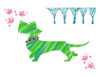梅の花とダックスフンド 10473000155| 写真素材・ストックフォト・画像・イラスト素材|アマナイメージズ