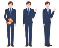 ネイビーのスーツを着たビジネスマン