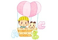 ABCの雲を見る気球に乗った男の子と犬