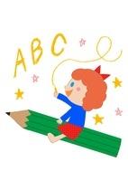 鉛筆に乗った女の子とABC 10488000014| 写真素材・ストックフォト・画像・イラスト素材|アマナイメージズ