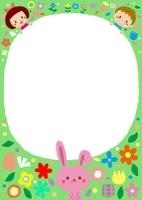 花畑のこどもたちとウサギのフレーム 10488000018| 写真素材・ストックフォト・画像・イラスト素材|アマナイメージズ